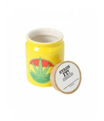 Ceramic Jar - Yellow Rasta Leaf - 300ml