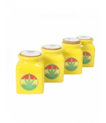 Ceramic Jar - Yellow Rasta Leaf - 150ml